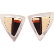 Signed Charles Loloma Sterling Wood Stone Inlay Earrings, Native American Hopi