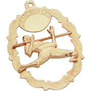 14k Gold Virgin Islands Charm with Raised Limbo Dancer, Travel Souvenir Bracelet Charm