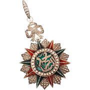 Tunisian Order of Glory Nichan Iftikhar Medal 900 Silver Green & Red Enamel 10 Pointed Star, Tunisia Medal