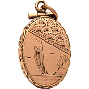 "Antique Victorian Aesthetic Movement Fob Locket with Engraved Sailboat, Small 1"", Top Hinge"