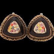 Art Deco Era Mosaic Earrings with Pastel Flowers in Black, Screw Back Earrings