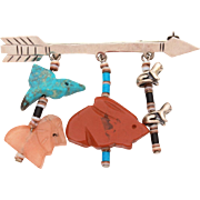 Native American Sterling Arrow Pin with Carved Stone Animal Fetish Dangles - Hummingbird, Frogs, Rabbit, Big Cat
