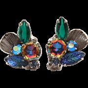 Watermelon Vitrail, Blue Pressed Glass Leaf, Open Back Rhinestone Earrings, Antiqued Silver Tone
