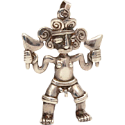 Nude Male Pre-Columbian Style Sterling Pendant, Naked Man Inca Empire, Incan Warrior, Ethnic Necklace Pendant