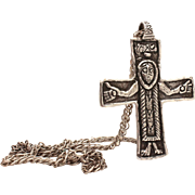 """Large Sterling Crucifix Necklace, Cross on 24.5"""" Chain, Unisex Christian, Signed Sterling"""