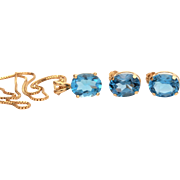 "14k Gold Blue Topaz Necklace & Pierced Earrings, November Birthstone, 14k Yellow Gold 18 1/8"" Chain, 5.25 Carats Blue Topaz"