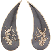 Siam Sterling Niello Earrings with Siamese Dancer, Claw or Dramatic Tear Drop Shape Clip On Earrings 1.75""