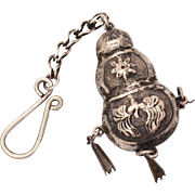 Antique Chinese Silver Pendant Gourd Shaped with Repousse Details on Chain with Hook, Chinese Ornament