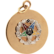 Eastern Star Bracelet Charm Gold Filled Disc with Enamel Star by Wells, Dated 1964