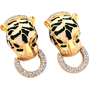 D'Orlan Enamel Spotted Leopard Door Knocker Earrings with Pave Rhinestones, Gold Tone Clip Earrings