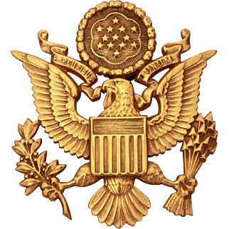 USAAC Eagle Hat Badge, US Army Air Corps Visor Hat Emblem Screw Back Badge, Officer Cap Badge