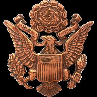 United States Army Air Corps Eagle Hat Badge Bronze Tone, Signed USAAC Visor Hat Emblem Screw Back Badge, Officer Cap Badge