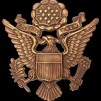 Military Air Force Screw Back Eagle Cap Badge, United States Army Air Corps Hat Badge Brass Tone, USAAC Visor Hat Emblem Screw Back Badge, Officer Cap Badge