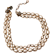 Signed Miriam Haskell Faux Baroque Pearls Double Strand Necklace with Filigree Flower Hook Clasp