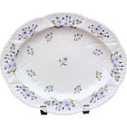 "Shelley England Blue Rock Oval Platter Dainty Shape 10.75"", Shelley Fine Bone China 13591"