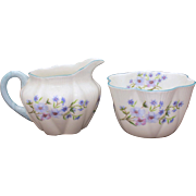 Shelley Blue Rock Cream Pitcher & Open Sugar Dainty Shape Shelley England Fine Bone China 13591, Creamer & Sugar