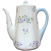 Shelley England Blue Rock Pattern 3 Cup Coffee Pot Dainty Shape, Shelley Fine Bone China 13591