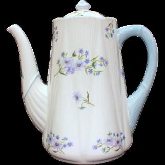 Shelley England Blue Rock Pattern 3 Cup Coffee Pot Dainty Shape, Shelley Fine Bone China 13591