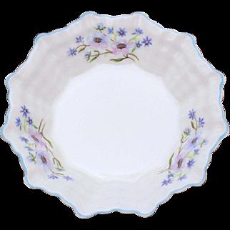 Shelley Sweet Meat Dish Blue Rock Pattern Dainty Shape, Plain Center, Small Bowl, Sweetmeat