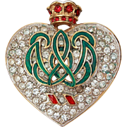 Carolee Duchess of Windsor Crowned Heart Rhinestone Pin