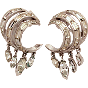 Trifari Dangle Earrings with Baguette & Marquis Rhinestones in Silver Tone