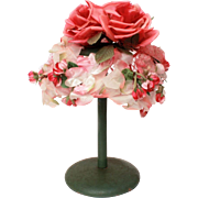 Pink Roses, Rose Petal, Rose Buds - Vintage Flower Hat, Pink Mesh, Green Leaves