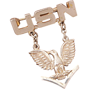 USN Petty Officer 3rd Class WWII Sterling Sweetheart Pin Signed Ekco, American Eagle Insignia Navy Petty Officer Third Class, Dangle Pin