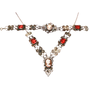 Cameo Necklace & Bracelet with Red Glass Open Back Rhinestones, Silver Tone Filigree, Carved Shell Cameos, Fun Tatty Condition