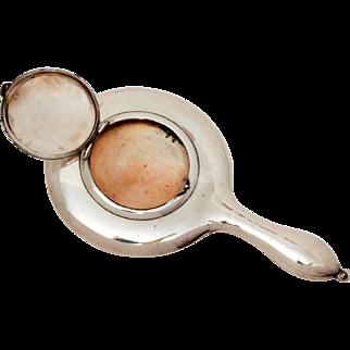 Antique Sterling Hand Mirror Compact 1915 Birmingham England, Edwardian Chatelaine Powder Compact, Necklace Pendant