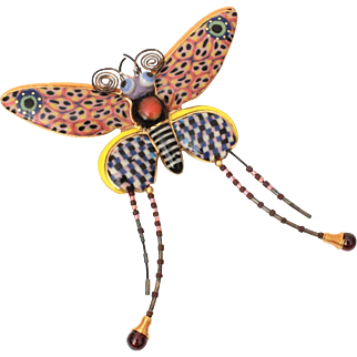 Cynthia Chuang Porcelain Butterfly Pin, Erh-Ping Tsai Brooch for Jewelry 10 with Paperwork
