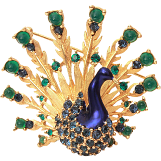 Boucher Peacock Pin Metallic Blue Enamel, Blue Chatons & Emerald Green Cabochon Rhinestones, Marcel Boucher Signed and Numbered Brooch, Book Piece