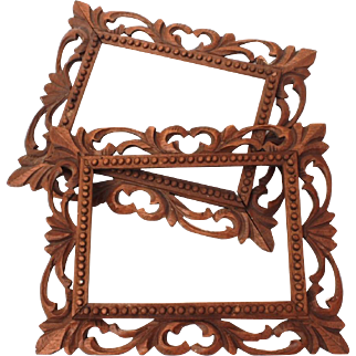 Matched Pair Rustic Carved & Pierced Wood Frames for Paintings or Photographs