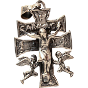 Mexican Sterling Cross of Caravaca with Raised Christ on Double Bar Crucifix, Silver Mexico Pendant