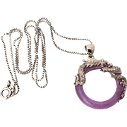 Lavender Jade Sterling Dragon Necklace, Coiled Dragon Pendant