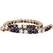 Gilded Sterling Tennis Bracelet with Cubic Zirconia & Sapphire Blue Rhinestones