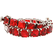 Sterling Tennis Bracelet with Ruby Red Emerald Cut Square Glass Rhinestones