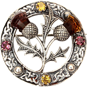 Sterling Scottish Thistle Pin with Glass Amethyst & Citrine Stones, Celtic Symbols of Scotland