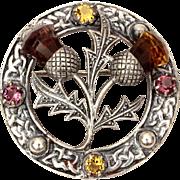 Sterling Scottish Thistle Pin with Glass Amethyst & Citrine Stones, Celtic Symbols of Scotland