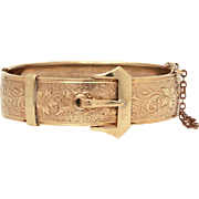 Victorian Revival Buckle Bracelet, Hinged Bangle Bracelet