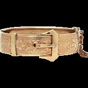Victorian Revival Buckle Bracelet, Hinged Bangle Bracelet