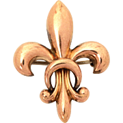 French Fleur de Lis & Cresecnt Moon Watch Pin in Rose Gold Tone, Symbol of France