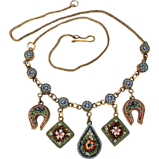 Antique Micro Mosaic Necklace with Dangles, Horseshoe, Diamond Shapes, Tear Drop