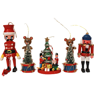 Set of 5 Wood Christmas Ornaments, Nutcracker, Christmas Tree, Toy Soldier String Puppet, Teddy Bears