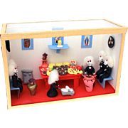 Dia de Los Muertos Diorama of Skeletons, Mexican Folk Art Shadow Box, Day of the Dead Mexico Sweet Meat Store with Calavera, Pastry Market Stall