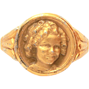 Rare Shirley Temple Ring Gold Washed Sterling 1930's Hollywood, Child's Size 3, Genuine Childrens Jewelry