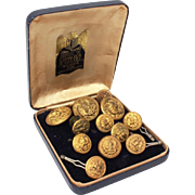 12 Military Buttons United States Navy, USN Button Set & Epaulette Screws, Various Makers - Hilborn-Hamburger, Jacob Reed's & Sons, Superior Quality