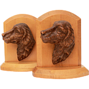 Syroco Wood Dog Head Bookends, Golden Retriever, Labrador Retriever, Book Ends