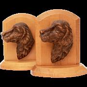 Syroco Wood Dog Head Bookends, Golden Retriever, Labrador Retriever, Book Ends