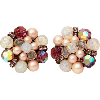 Schiaparelli Earrings Crystal Bead Clusters with Purple Rhinestone Rondelles & Opalescent Glass Beads