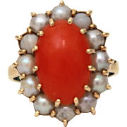14k Coral & Gray Pearls Ring, Dark Orange Red Coral, Small Ring Size 4 1/2
